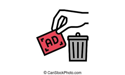 toss out advertisement animated color icon. toss out advertisement sign. isolated on white background