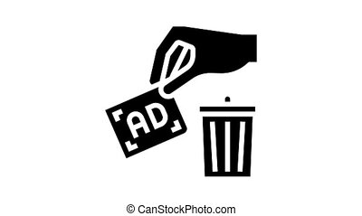 toss out advertisement animated glyph icon. toss out advertisement sign. isolated on white background