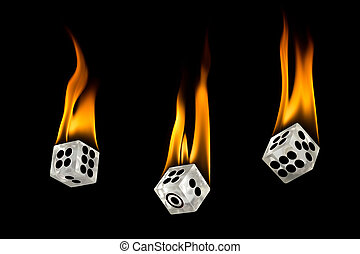 Toss the fire dice. Dice drop down. Toss the dice. Fire on the dice.