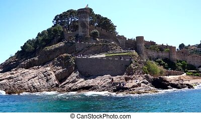 may, 2019, Spain, Medieval castle-fortress Villa Vella, sea trip, view from the water