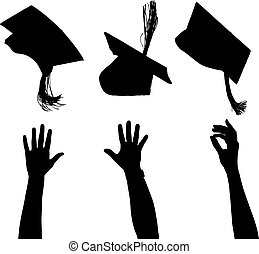 Tossing mortarboard Silhouette on white background