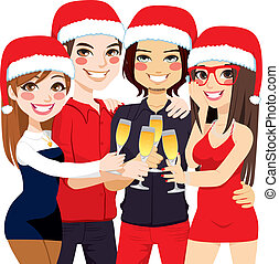 tostada, fiesta, amigos, navidad