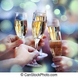 tostada, gente, tenencia, elaboración, anteojos de champán