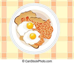 tostada, huevos, frito
