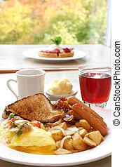 tostada, huevos, potencia, tocino, -, salchichas, desayuno