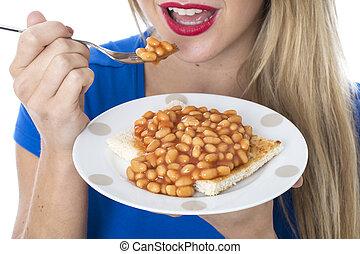 tostada, mujer que come, released., joven, frijoles, atractivo, modelo, cocido al horno