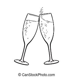 tostada, par, feriado, anteojos de champán