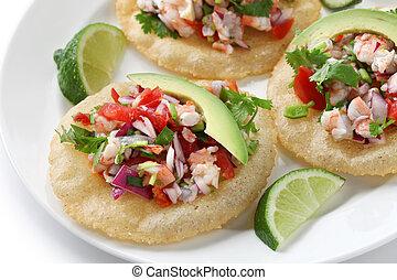 tostadas de ceviche, mexican food - ceviche(raw fish...