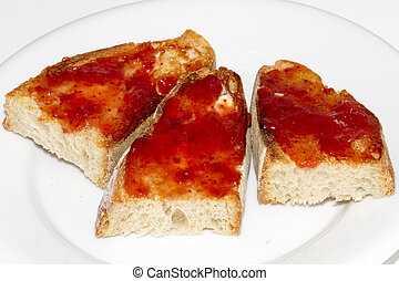 tostadas de mermelada y mantequilla