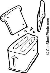 tostadora, afuera, caricatura, escupir, bread