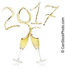 tostare, vigilia, anno, nuovo, 2017, bicchieri champagne