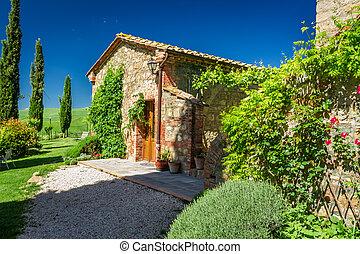 toszkána, vidéki, épület, alatt, nyár, olaszország
