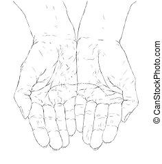 tot een kom gevormde handen