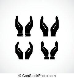 tot een kom gevormde handen, vector, lege, pictogram