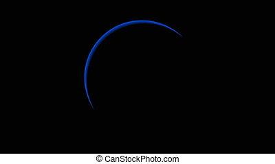 Total blue solar eclipse, art video illustration.