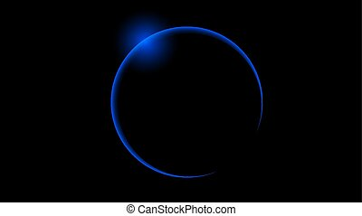 Total blue solar eclipse, vector art illustration.