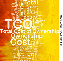 Background concept wordcloud illustration of total cost of ownership international