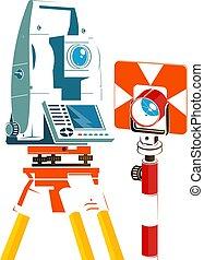 total, geodetic, station, silhouette, réflecteur