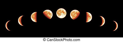 Nine phases of the full growth cycle of the red moon isolated on black background