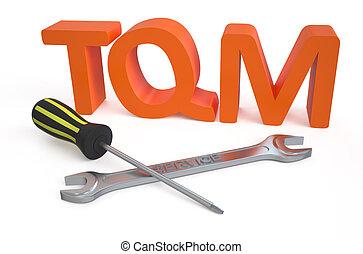 total, manejo qualidade, (tqm), serviço, conceito
