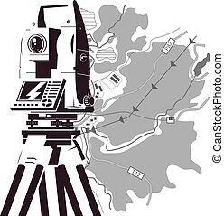 total, mapa, estação, geodesy, área