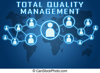 Total Quality Management concept on blue background with...