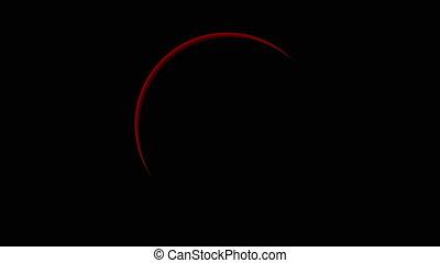 Total red solar eclipse, art video illustration.