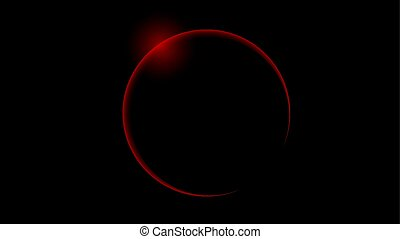 Total red solar eclipse, vector art illustration.