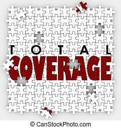 total, reportage, police d'assurance, trous, écarts, morceaux puzzle