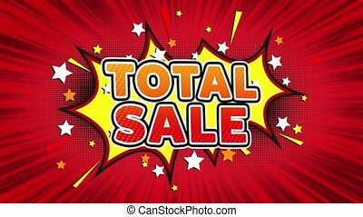 Total Sale Text Pop Art Style Comic Expression. - Total Sale...