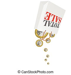 total sale with euro coins color vector illustration