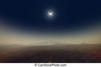 Total solar eclipse - Dramatic scientific background -...