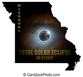 Total Solar Eclipse in Missouri Map Outline