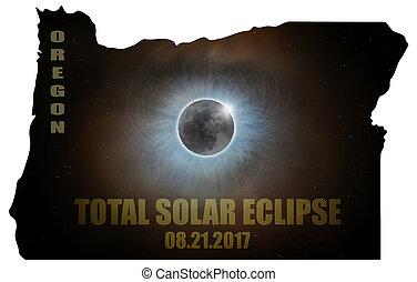 Total Solar Eclipse in Oregon Map Outline - Total Solar...