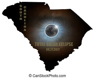 Total Solar Eclipse in South Carolina Map Outline
