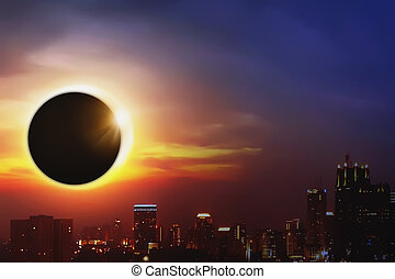 Total Solar Eclipse - Total solar eclipse over the dark sky