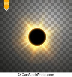 Total solar eclipse vector illustration on transparent background. Full moon shadow sun eclipse with corona vector illustration