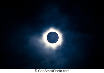 Total solar eclipse with visible corona - Total solar...