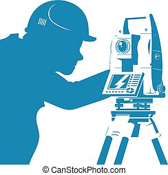 Total station and engineer silhouette - Engineer working...