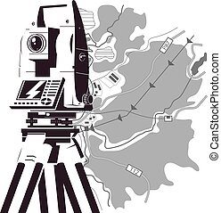 Total station and map of the area for geodesy