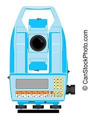 Total station - Vector illustraion of digital geodetical...