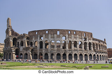 total view of the colosseum, rome italy