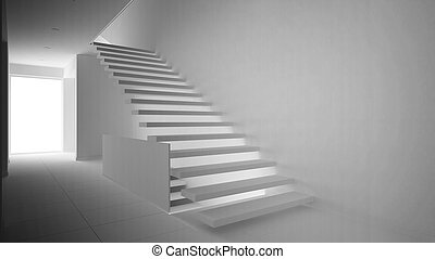 Total white project of modern entrance hall with wooden staircase, minimalist interior design