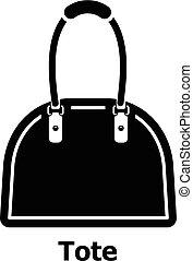 Tote bag icon, simple black style - Tote bag icon. Simple...