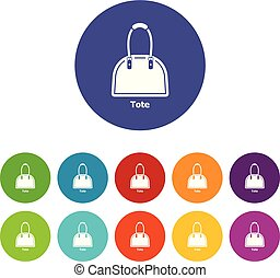 Tote bag icons set vector color