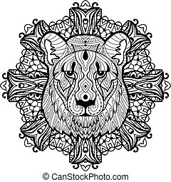 Totem coloring page for adults. The head of a lioness