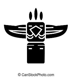 totem - native american icon, vector illustration, black sign on isolated background