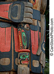 Totem Pole Detail Duncan, British Columbia, Canada