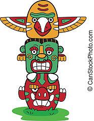 Totem Pole - Illustration of a Totem Pole