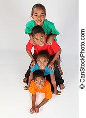 Totem pole of kids